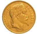 1863 20 French Francs - Napoleon III Laureate Head - BB
