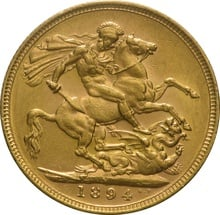 1894 Gold Sovereign - Victoria Old Head - M