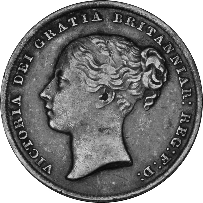 1842 Queen Victoria Silver Milled Shilling