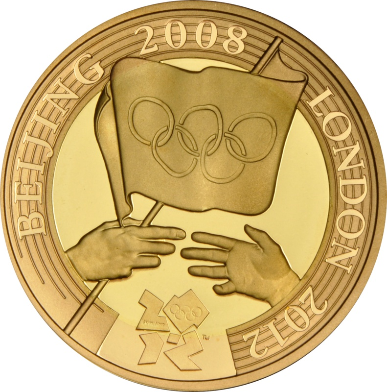 2008 £2 Two Pound Proof Gold Coin:  London Olympic Handover Ceremony