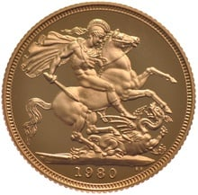 1980 Gold Sovereign - Elizabeth II Decimal Head Proof
