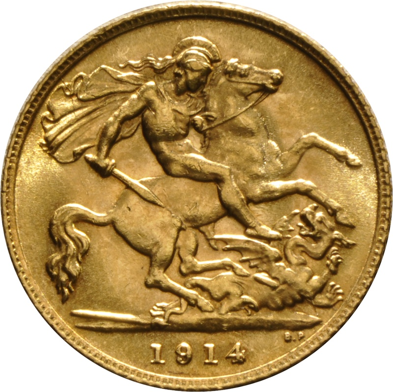 1914 Gold Half Sovereign - King George V - London