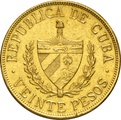 Cuban Veinte 20 Pesos Gold Coin