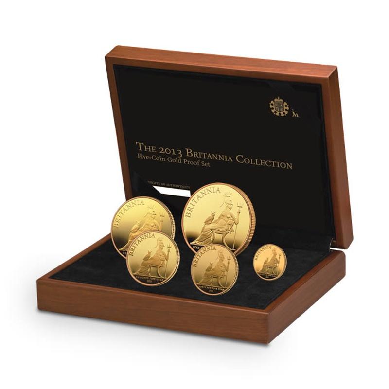 2013 Proof Britannia Gold 5-Coin Set Boxed
