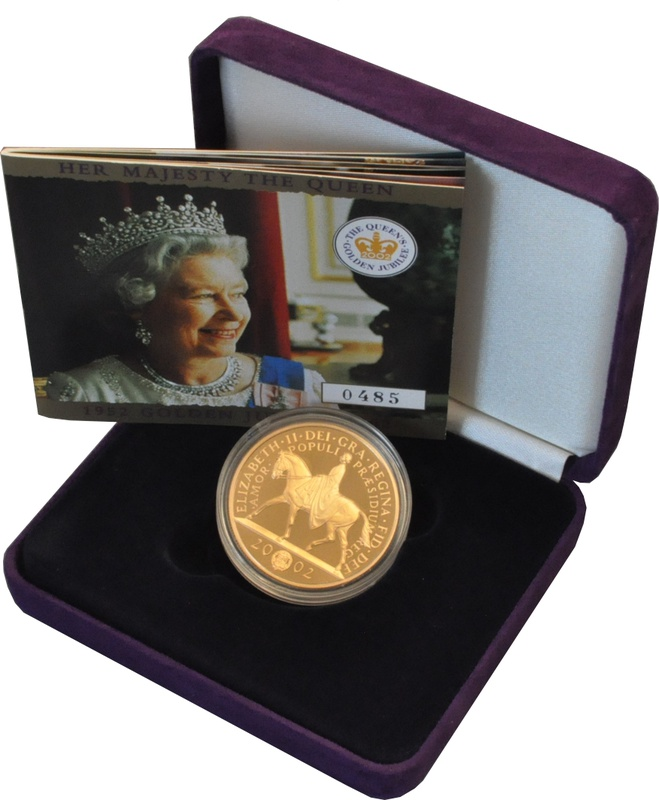 2002 - Gold £5 Proof Crown, Golden Jubilee Boxed