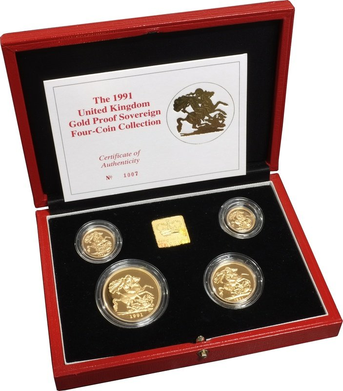 1991 Gold Proof Sovereign Four Coin Set Boxed