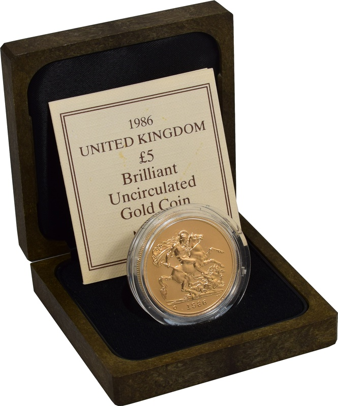 1986 - Gold £5 Brilliant Uncirculated Coin Boxed
