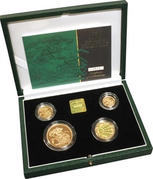 2001 Gold Proof Sovereign Four Coin Set Boxed