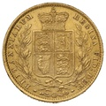 1862 Gold Sovereign - Victoria Young Head Shield Back - London