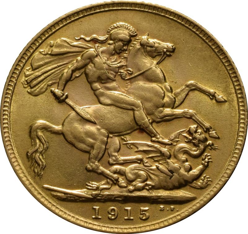1915 Gold Sovereign - King George V - London
