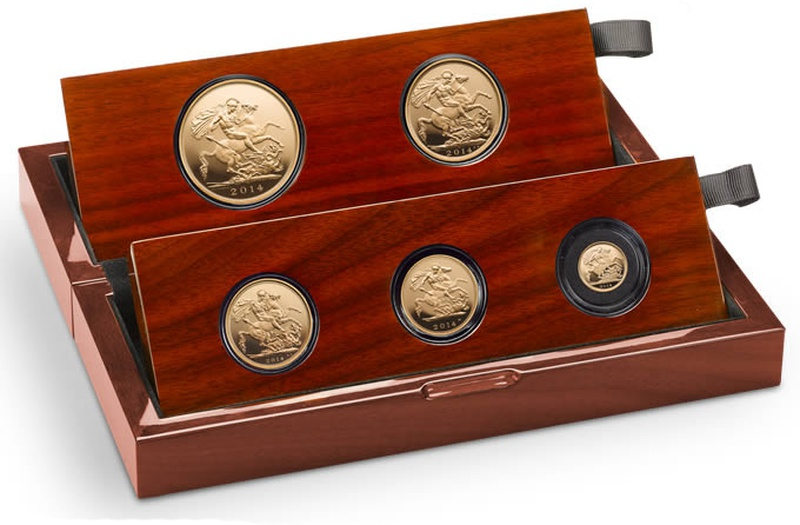 2014 Gold Proof Sovereign Five Coin Set Boxed