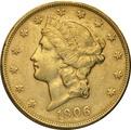1906 $20 Double Eagle Liberty Head Gold Coin, San Francisco