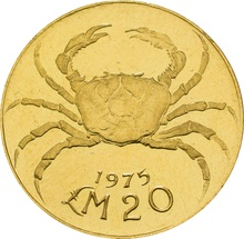 Maltese Gold Proof £20 1975 Fresh Water Crab