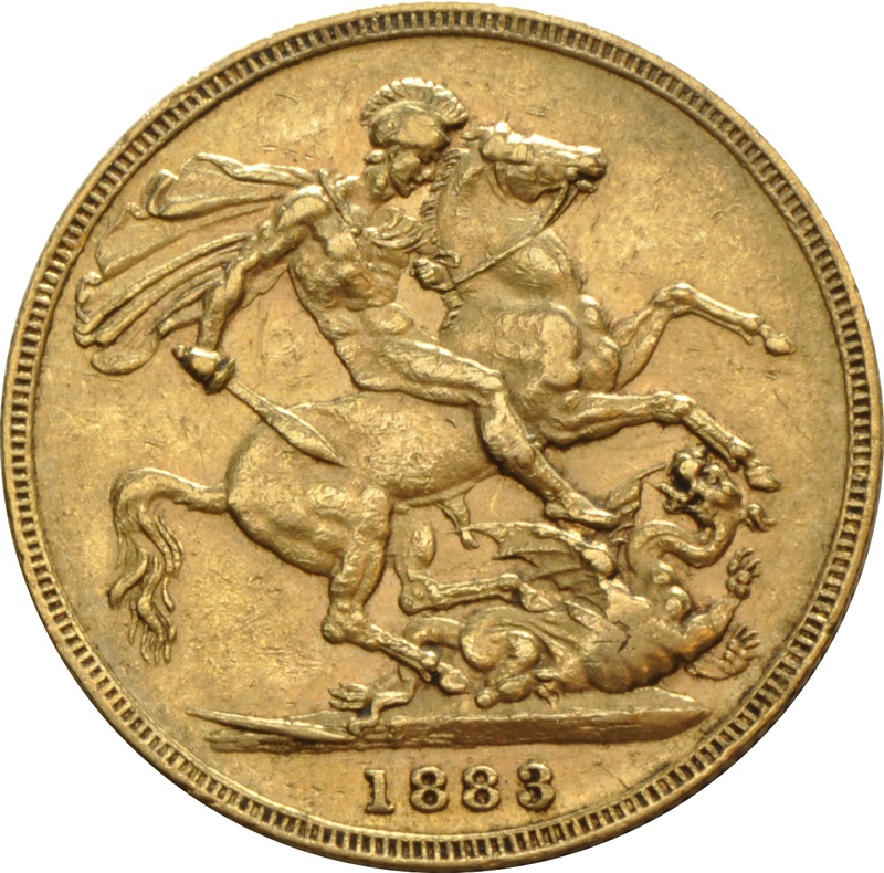 1883 Gold Sovereign - Victoria Young Head - S