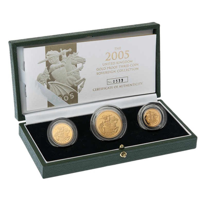 2005 Gold Proof Sovereign Three Coin Set Boxed