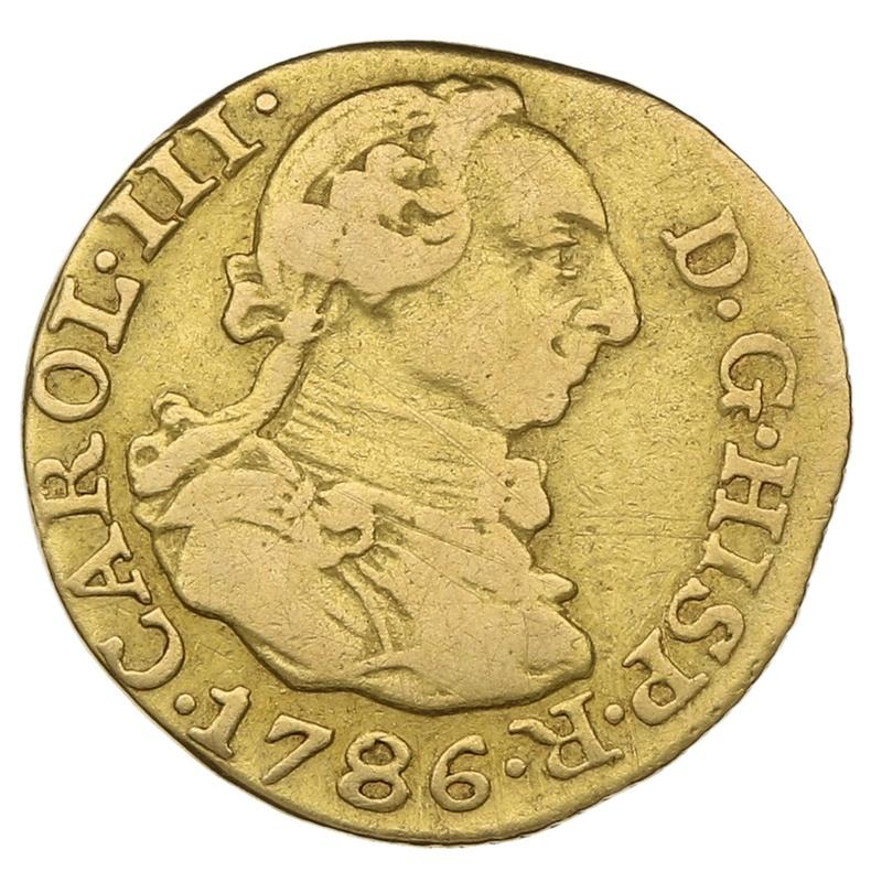 1786 Charles III Spain Gold 1/2 Escudo