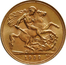 1932 Gold Sovereign - King George V - SA