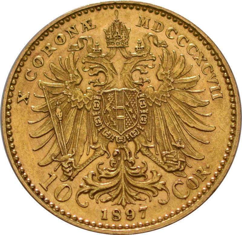 Gold Austrian 10 Coronas Franz Joseph I