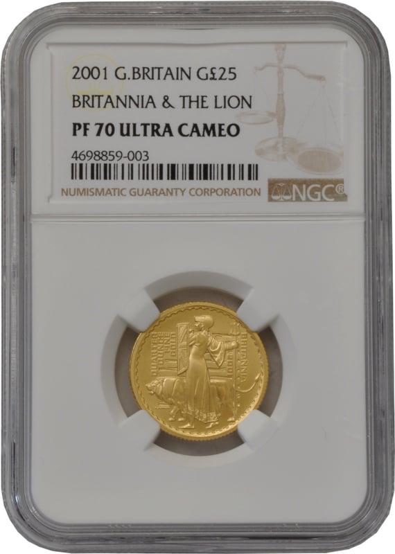 2001 Quarter Ounce Proof Britannia Gold Coin NGC PF70