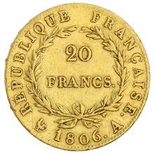 1806 20 French Francs - Napoleon (I) Bare Head - A