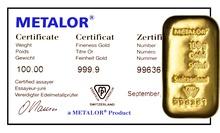 Metalor 100 Gram Gold Bar (Cast)