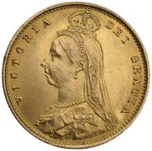 Gold Half Sovereign Victoria Jubilee Head Shield Back