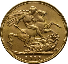 1918 Gold Sovereign - King George V - India