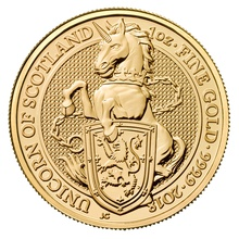 1oz Gold Coin, Unicorn of Scotland - Queen's Beast 2018