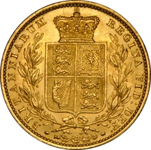 1853 Gold Sovereign - Victoria Young Head Shield Back - London NGC MS62