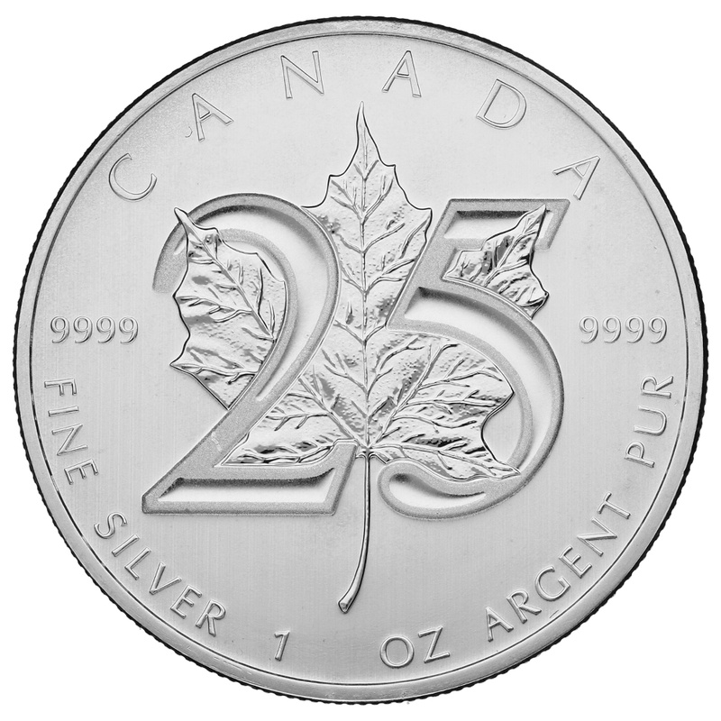 2013 1oz Canadian Maple 25th Anniversary Silver Coin