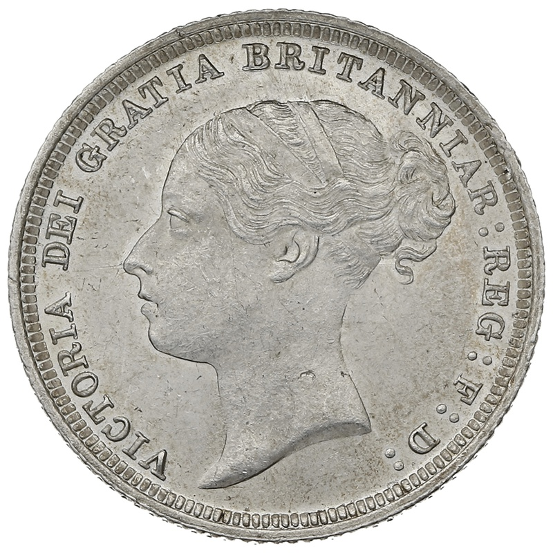 1887 YH Queen Victoria Silver Sixpence