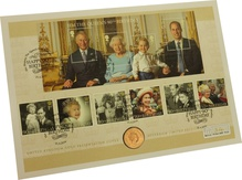2016 Gold Sovereign First Day Cover Queen's 90th Birthday