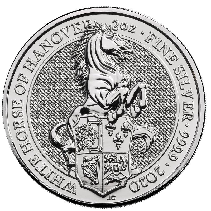 2020 2oz Silver Coin, White Horse of Hanover, Queen's Beast