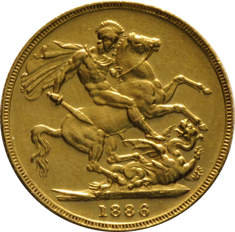 1886 Gold Sovereign - Victoria Young Head - M