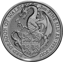 2oz Silver Coin, The Red Dragon - Queen's Beast