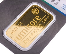Umicore 20 Gram Gold Bar