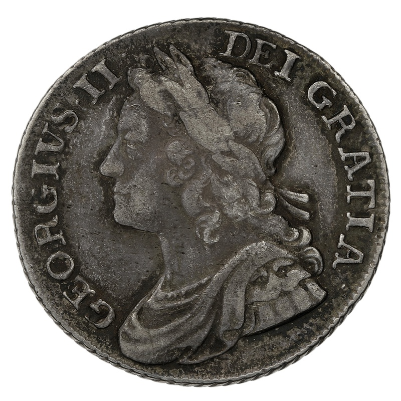 1741 George II Silver Milled Sixpence