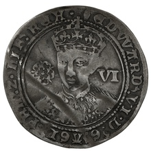 1551-3 Edward VI Silver Sixpence mm Tun