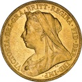 1899 Gold Sovereign - Victoria Old Head - P NGC AU58