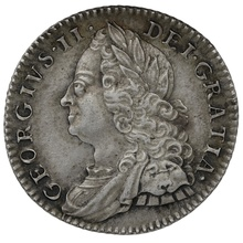 1758 George II Milled Silver Sixpence