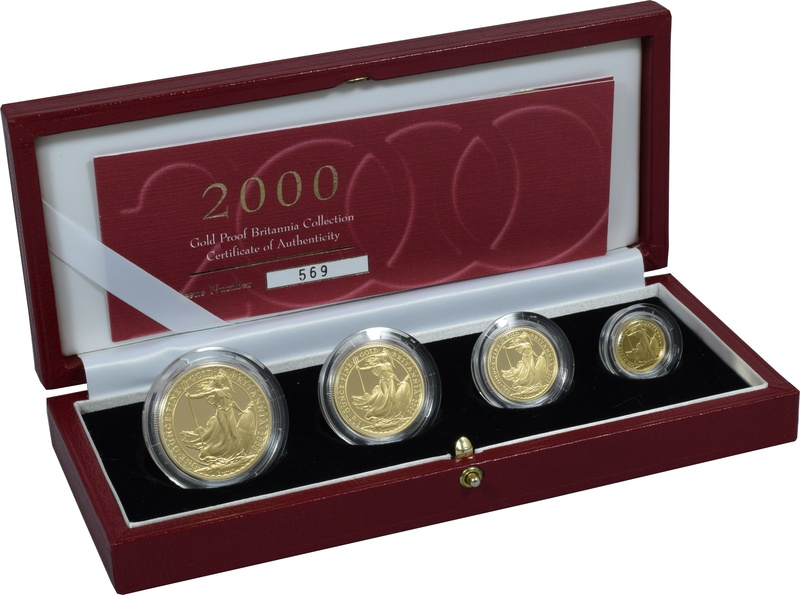2000 Proof Britannia Gold 4-Coin Set Boxed