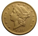1877 $20 Double Eagle Liberty Head Gold Coin, San Francisco