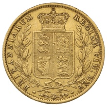 1854 Gold Sovereign - Victoria Young Head Shield Back - London