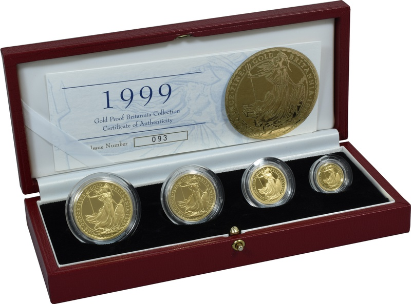 1999 Proof Britannia Gold 4-Coin Set Boxed