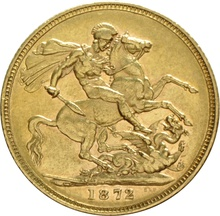 1872 Gold Sovereign - Victoria Young Head - London