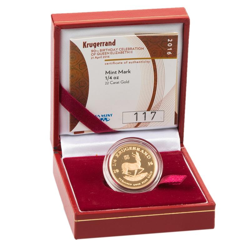 2016 1/4oz Gold Proof Krugerrand QEII 90th Birthday- Boxed