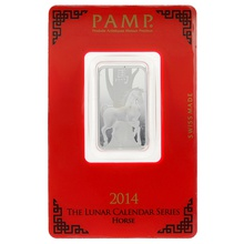 2014 PAMP 10 Gram Silver Year of the Horse Bar Minted