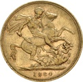 1884 Gold Sovereign - Victoria Young Head - London