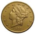 1903 $20 Double Eagle Liberty Head Gold Coin, San Francisco