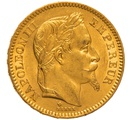 1865 20 French Francs - Napoleon III Laureate Head - BB